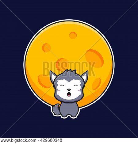 Cute Wolf Howl At The Full Moon Cartoon Icon Illustration. Design Isolated Flat Cartoon Style