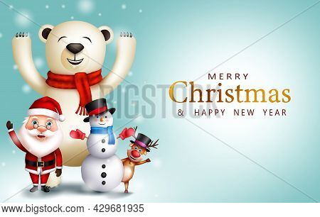Merry Christmas Greeting Vector Design. Merry Christmas Text With Santa Claus, Bear, Snowman And Rei