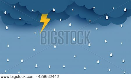 Dark Clouds With Rainfall And Thunder Flash Background Design Vector Illustration