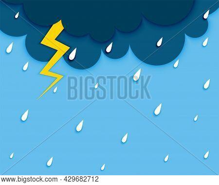 Dark Cloud With Flash Lightening And Rainfall Design Vector Illustration