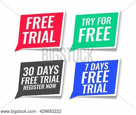 Free Trial Stickers Pack Of Four Design Vector Illustration