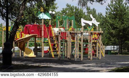 Empty Playground. Children Playground. Kid Zone. Children Playground.