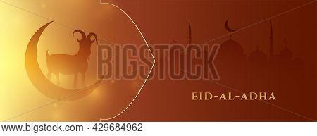 Muslim Holiday Banner Of Bakrid Eid Al Adha Design Vector Illustration