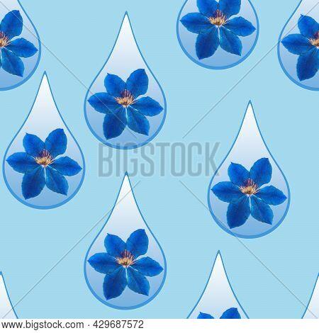 Illustration With Floral Elements. Clematis. Rain Drops Pattern. Water Drop, Rainy Element Modern De