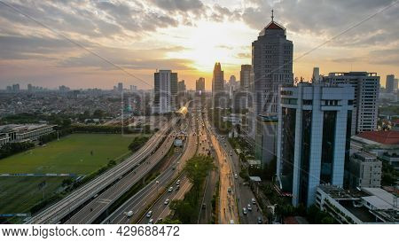 Aerial View Of Panoramic Photo Of Jakarta Overlooking Parklands, And The City Skyline With A Spectac