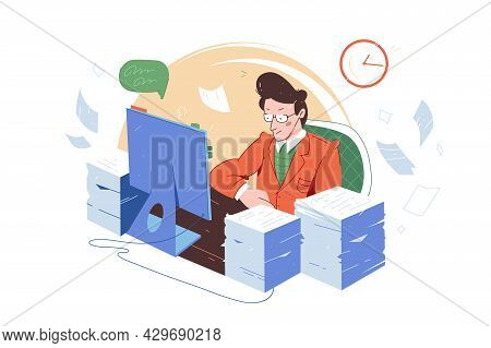Office Worker With Large Amount Of Work Vector Illustration. Tired Employee With Paper Stack Flat St
