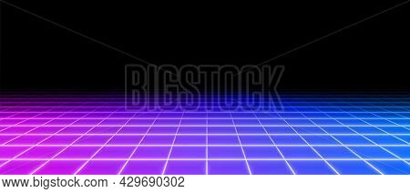 Retro Neon Perspective Grid Floor Background Design Vector Illustration