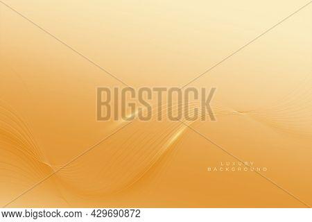 Premium Golden Background With Smooth Wave Lines Design Vector Illustration