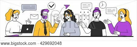 Male And Female Characters Are Working In Call Center Together. People In Office At Workplace. Conce