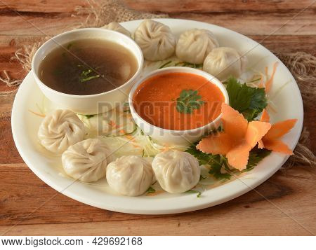 Combo Of Veg Steam Momo And Veg Soup, Nepalese Traditional Dish Momo Stuffed With Vegetables And The