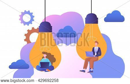 Male And Female Characters Are Sitting In Lightbulbs With Laptops. Abstract Concept Of Creativity, W