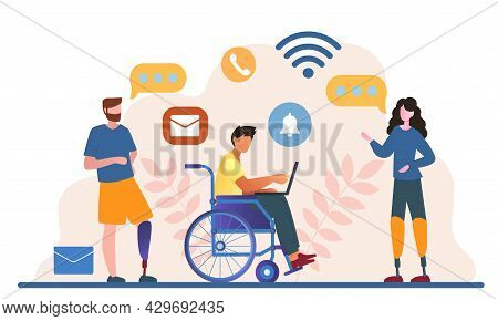 Male And Female Disabled People Are Working Together In The Office. Concept Of World Disability Day,