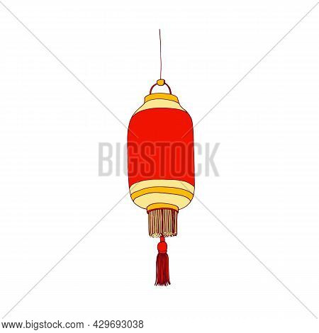 Chinese Street Paper Lantern Hanging. Festive Asian Light For China Religious And Traditional Holida