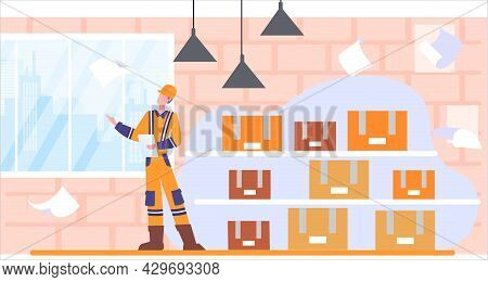 Male Character Distributing And Shipping Production Resources From Storage To Retail Store. Concept