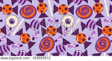 Seamless Pattern With Candy, Eyeball And Lollipops For Halloween. Purple-orange Sweets, A Round Loll