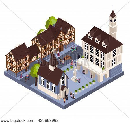 Medieval Town Architecture Isometric Concept With Tower Church And House Vector Illustraion