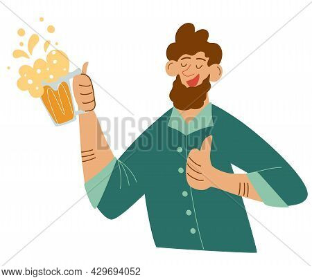Happy Bearded Man With Mug Of Beer. Making Celebratory Toast. Guy Holding Beer Drink And Having Fun.