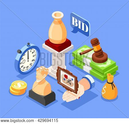 Auction Isometric Background With Composition Of Valuable Articles Images With Icons Of Gavel Cash A