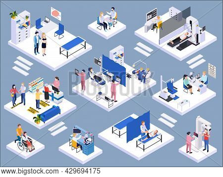 Medical Center Interior Isometric Composition With Dentist Mri Pharmacy Ophthalmologist Laboratory T