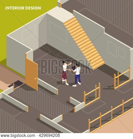 Interior Designer Discussing With Client Desired Look Within New House Building Suited For Inhabitan