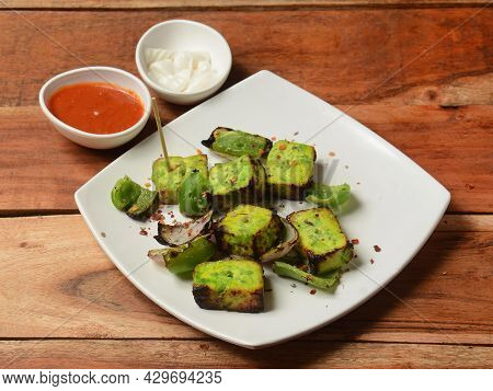 Paneer Tikka Kabab Is An Indian Dish Made From Chunks Of Cottage Cheese Marinated In Spices And Gril