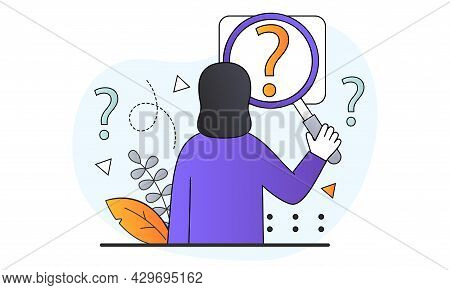 Female Character Holding Magnifying Glass And Looking Through At Question Marks. Concept Of Frequent
