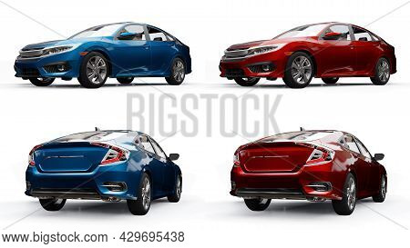 Set Red And Blue Mid-size Urban Family Sedan On A White Uniform Background. 3D Rendering.
