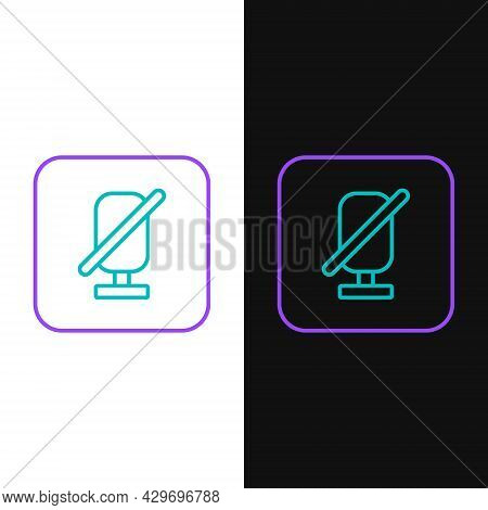 Line Mute Microphone Icon Isolated On White And Black Background. Microphone Audio Muted. Colorful O