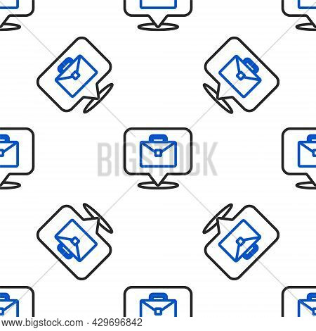 Line Online Working Icon Isolated Seamless Pattern On White Background. Freelancer Man Working On La