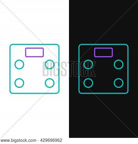 Line Bathroom Scales Icon Isolated On White And Black Background. Weight Measure Equipment. Weight S