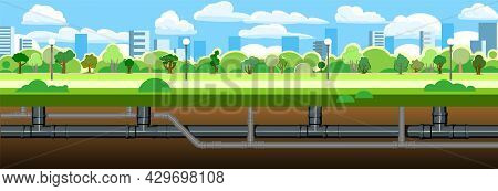 Pipeline For Various Purposes. Underground Part Of System. Against Backdrop Of Big City. Illustratio