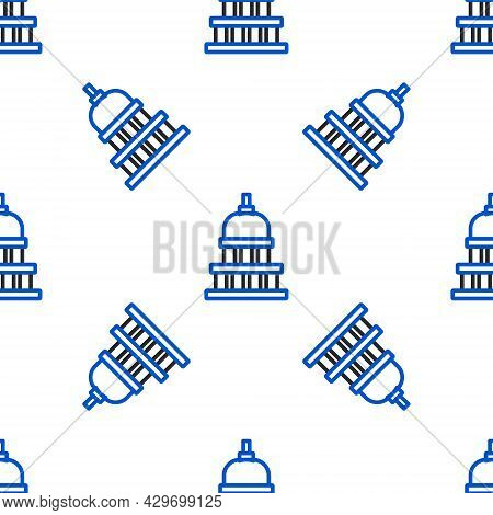 Line White House Icon Isolated Seamless Pattern On White Background. Washington Dc. Colorful Outline