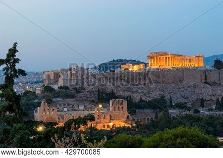 Parthenon Acropolis Hill In Athens, Greece By Night