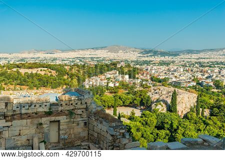 Athens City Panorama Seen From The Acropolis In Greece