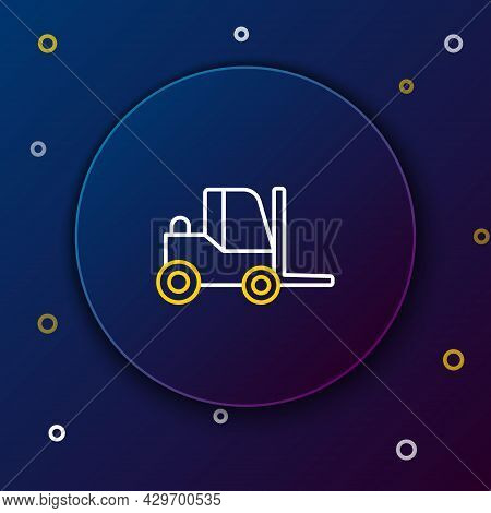Line Forklift Truck Icon Isolated On Blue Background. Fork Loader And Cardboard Box. Cargo Delivery,
