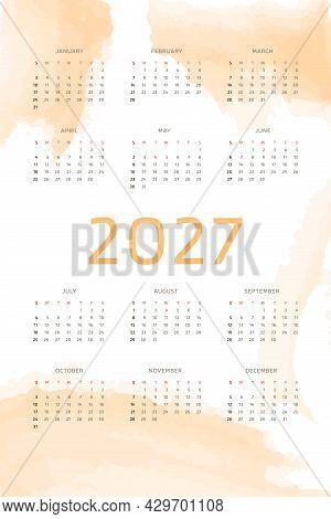 Orange 2027 Calendar Template On Background With Pastel Handdrawn Watercolor Brush Strokes. Calendar