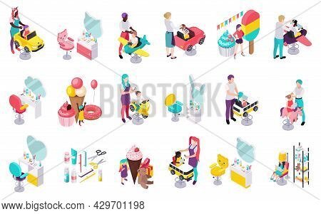 Children Hairdresser Beauty Salon Isometric Set Of Isolated Icons With Tools Seats And Toys With Peo