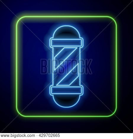Glowing Neon Classic Barber Shop Pole Icon Isolated On Blue Background. Barbershop Pole Symbol. Vect
