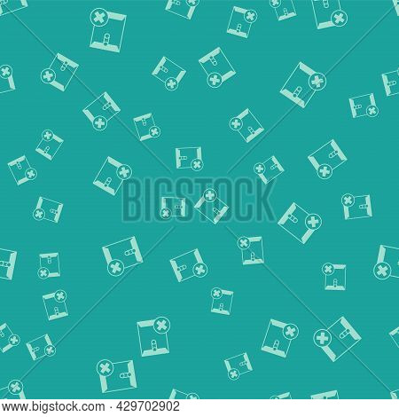 Green Delete Envelope Icon Isolated Seamless Pattern On Green Background. Delete Or Error Letter. Cr