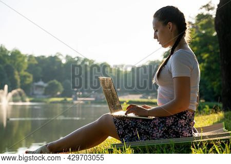 Woman Online Work Outside. Laptop, Computer Business Technology. Student Girl Working On Tablet In S