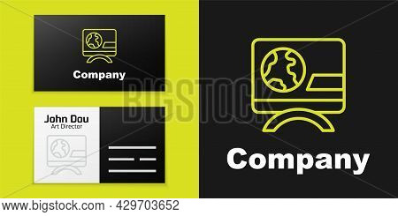 Logotype Line Breaking News Icon Isolated On Black Background. News On Television. News Anchor Broad