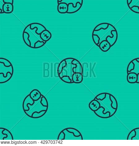 Blue Line World News Icon Isolated Seamless Pattern On Green Background. Breaking News, World News T