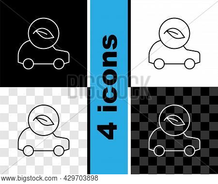 Set Line Eco Car Concept Drive With Leaf Icon Isolated On Black And White, Transparent Background. G