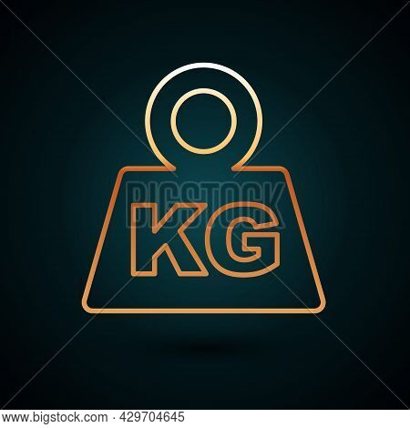 Gold Line Weight Icon Isolated On Dark Blue Background. Kilogram Weight Block For Weight Lifting And