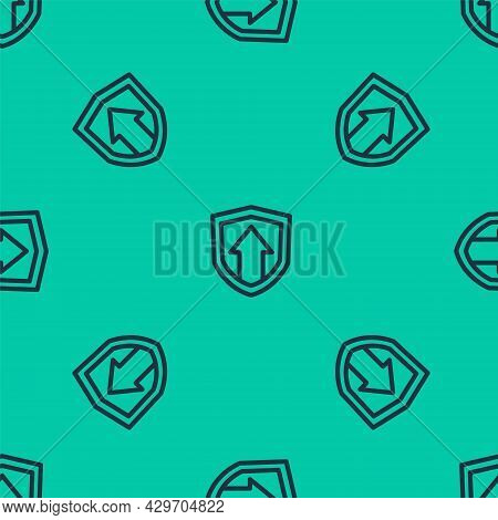 Blue Line Financial Growth Increase Icon Isolated Seamless Pattern On Green Background. Increasing R