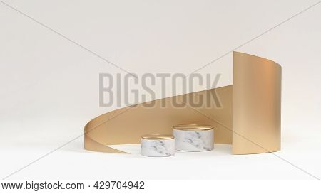 3d Render Illustration Cosmetics Podium Background. Marble Podiums With Gold Twisted Shape On The Wh