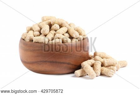 Granulated Wheat Bran In Bowl On White Background
