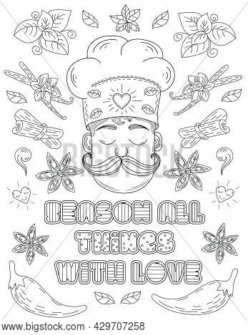 Man In Chef Hat Closed Eyes Surrounded Doodle Line Drawings. Cook Close Eye With Long Moustache With