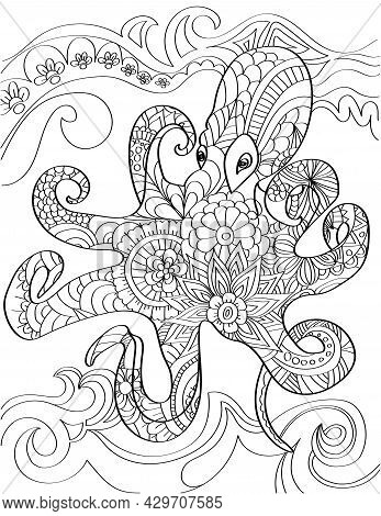 Large Smart Octopus Swimming In Ocean With High Waves Background. Octopi Swims Under Sea Water With