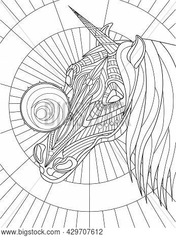Unicorn Head With Beautiful Mane Round Object On Face Colorless Line Drawing. Mythical Horned Horse